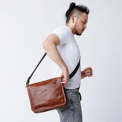 側背包真皮-淺咖/深咖-簡約中包 男包