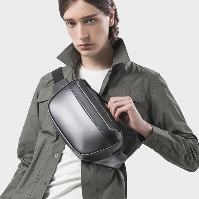 肩背包/胸包滌綸-銀灰-極簡手提 男包
