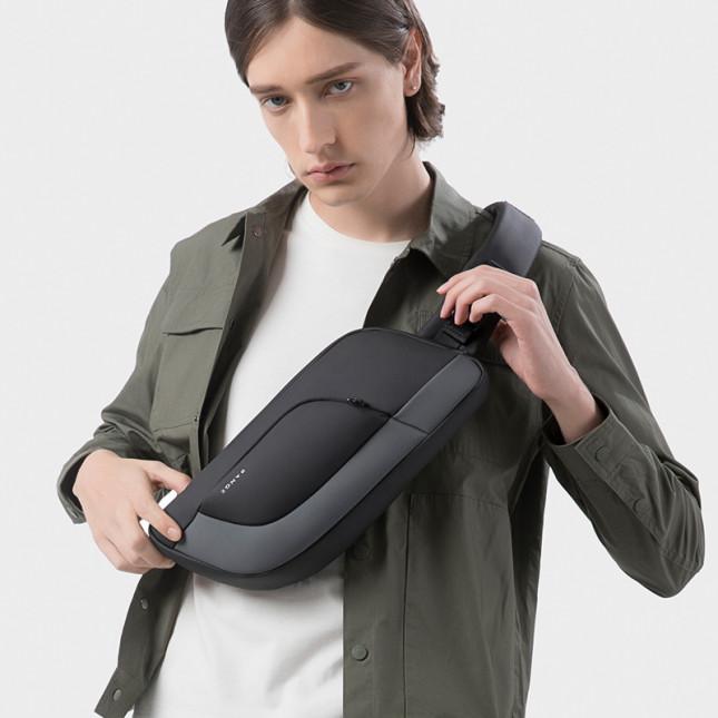 肩背包/胸包滌綸-黑灰-輕量科技 男包