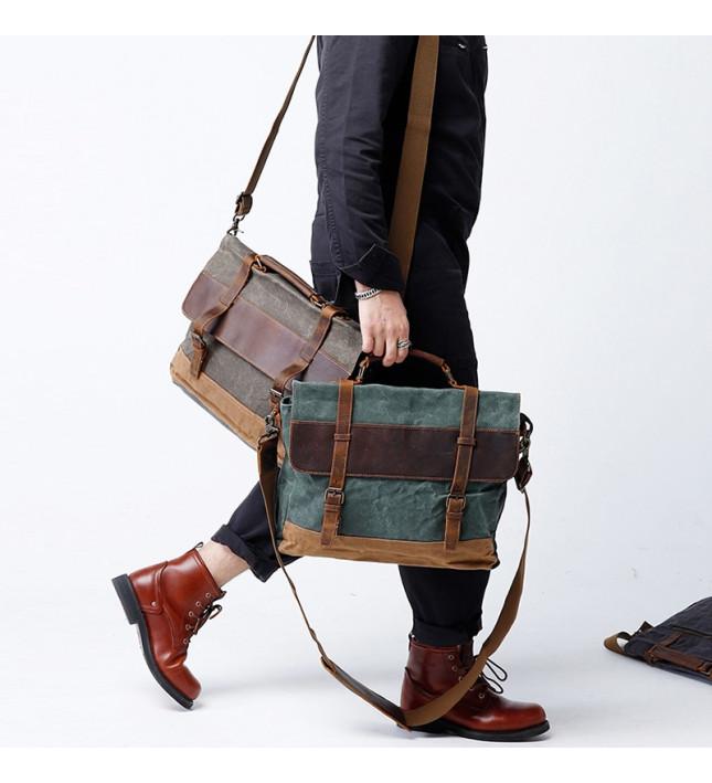 側背包帆布-灰/綠/咖-時尚牛仔 男包
