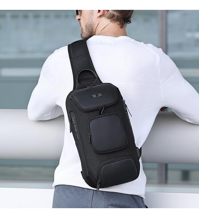 肩背包/胸包滌綸-灰黑-膠囊隔層 男包