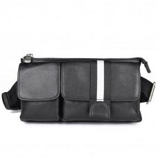 肩背包/腰包真皮-黑-條紋雙袋 男包