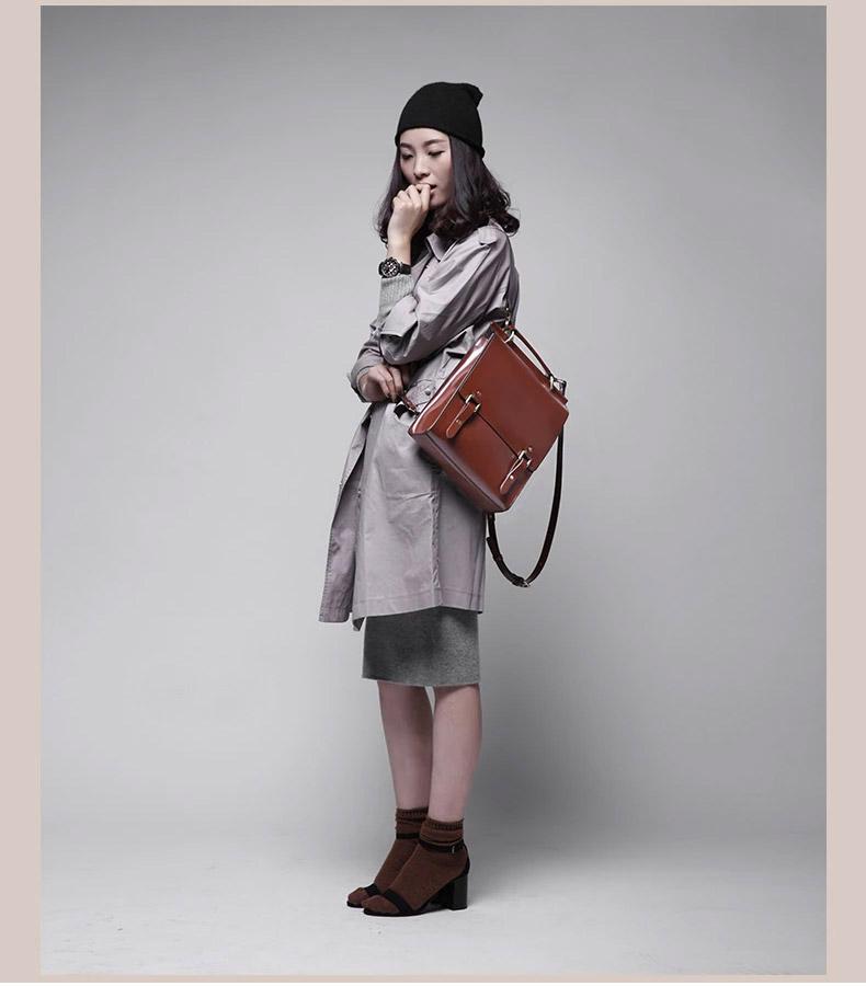 女用真皮硬式美學後背包