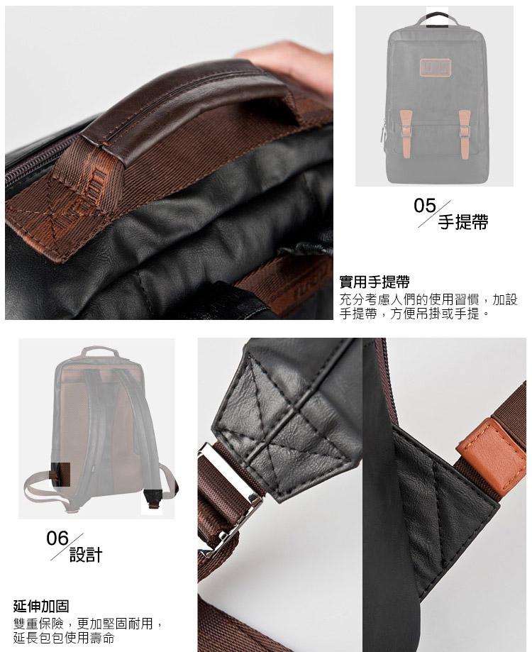 男用仿皮韓系學院風後背包