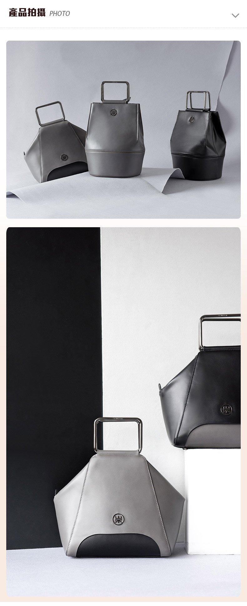 手提包真皮-黑/白-貝殼五角