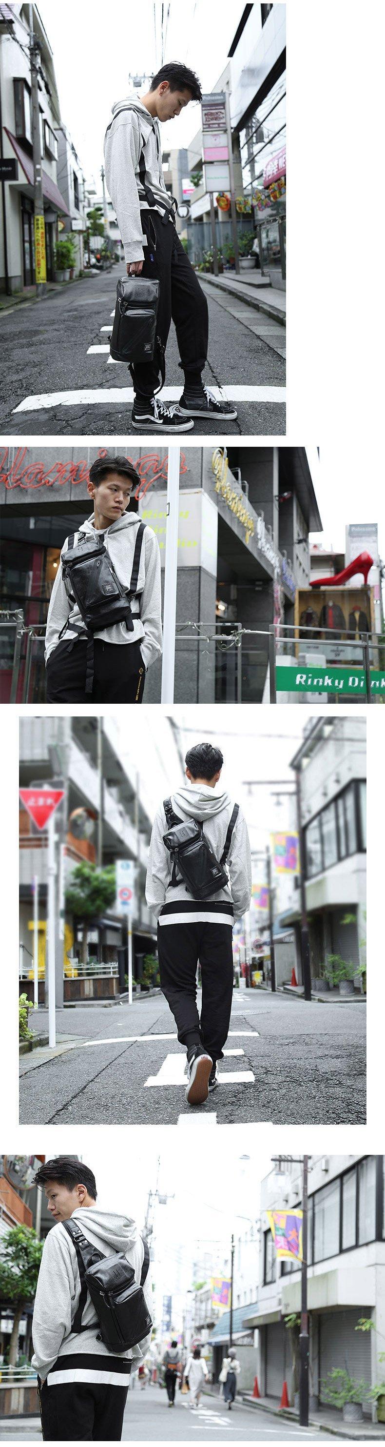 肩背包/胸包仿皮-黑-自由條碼 男包