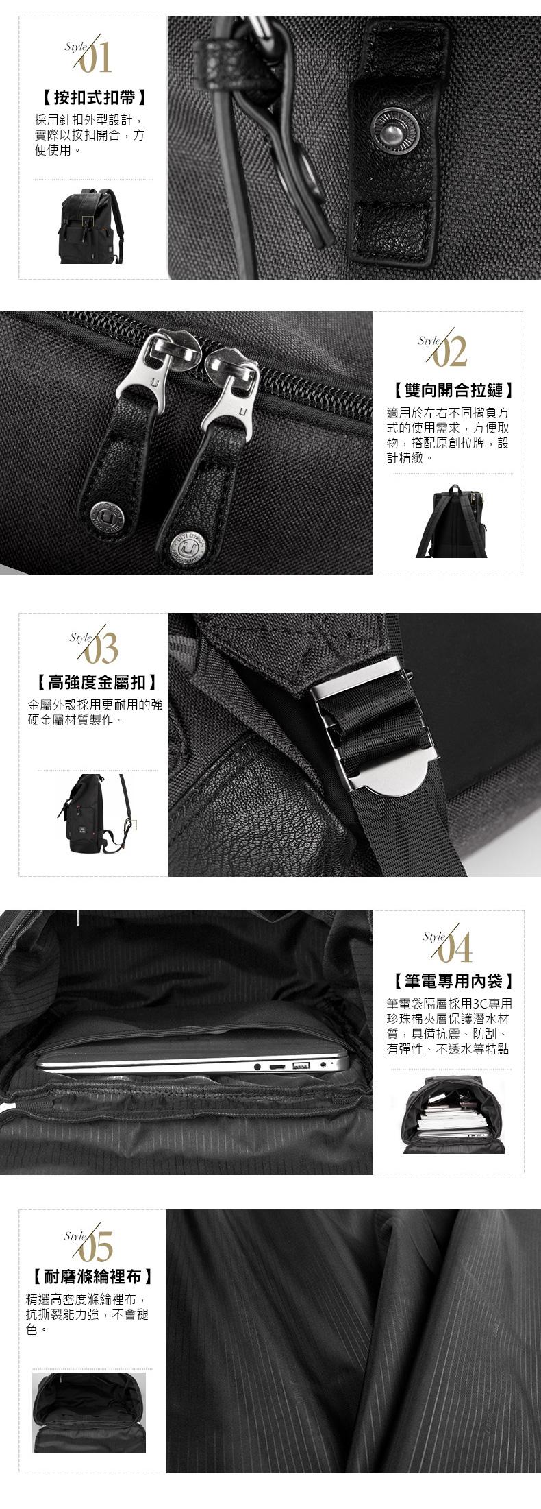 後背包滌綸-黑-韓版時尚 男包